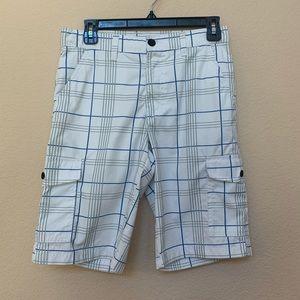 Tony Hawk White Gray & Blue Plaid Shorts Sz 16